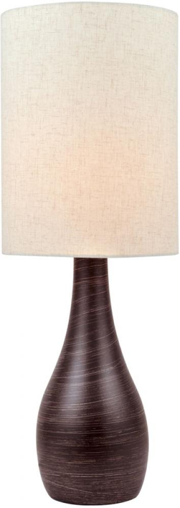 #Table Lamp, Brushed Dark Bronze/Linen Shade, E27 A 100W