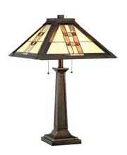 Lite Source Inc. C41398 - Table Lamp - Dark Bronze/tiffany Shade, E27 Type A 60wx2