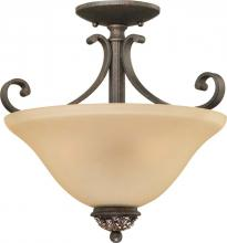 Volume Lighting V2213-82 - Bristol 3-light Vintage Bronze with Antique Gold Semi-Flush Ceiling Mount