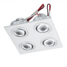 Alico WLE604C32K-0-98 - LED Squared 4 Light Directional LED Button Fixture In Brushed Aluminum
