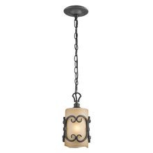 Golden 1821-M1L BI - Madera Mini Pendant in Black Iron with Toscano Glass