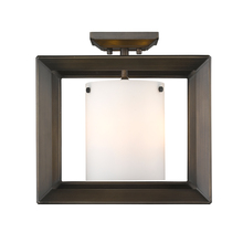 Golden 2073-SF12 GMT-OP - Smyth Semi-Flush (Low Profile) in Gunmetal Bronze with Opal Glass