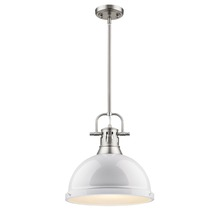 Golden 3604-L PW-WH - 1 Light Pendant with Rod