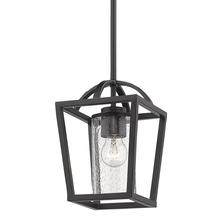 Golden 4309-M1L BLK-BLK-SD - Mercer Mini Pendant in Matte Black with Matte Black accents and Seeded Glass