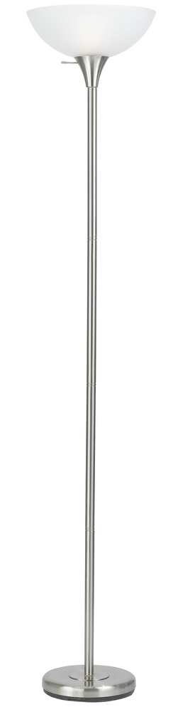 "70"" Height Metal Torchiere In Brushed Steel"