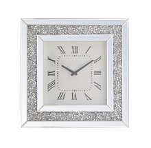 Elegant MR9205 - 20 inch Square Crystal Wall Clock Silver Royal Cut Crystal