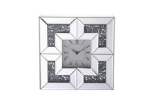 Elegant MR9207 - 10 inch Square Crystal Wall Clock Silver Royal Cut Crystal