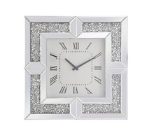 Elegant MR9208 - 20 inch Square Crystal Wall Clock Silver Royal Cut Crystal